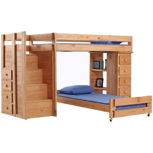 Pine Crafter Youth Bedroom Full/Twin Loft Bed with Stairs and Storage