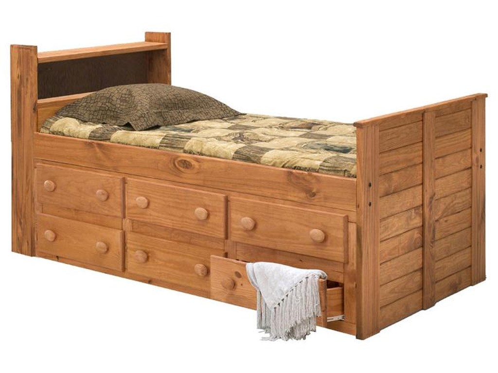 Pine Crafter Youth BedroomTwin Captain's Bed with Underbed Storage
