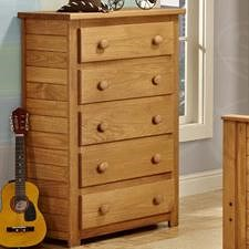 Pine Crafter Youth Bedroom Casual Solid Pine 5-Drawer Chest