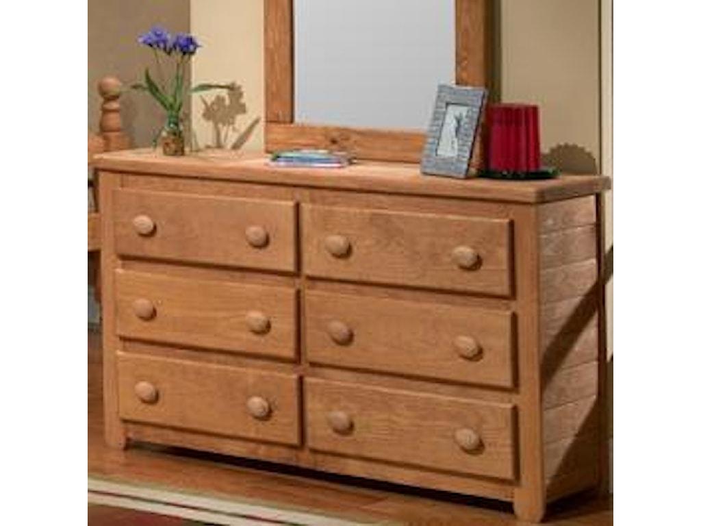 Pine Crafter Youth Bedroom6 Drawer Dresser