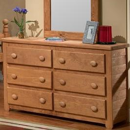 Pine Crafter Youth Bedroom Casual Solid Pine 6-Drawer Dresser
