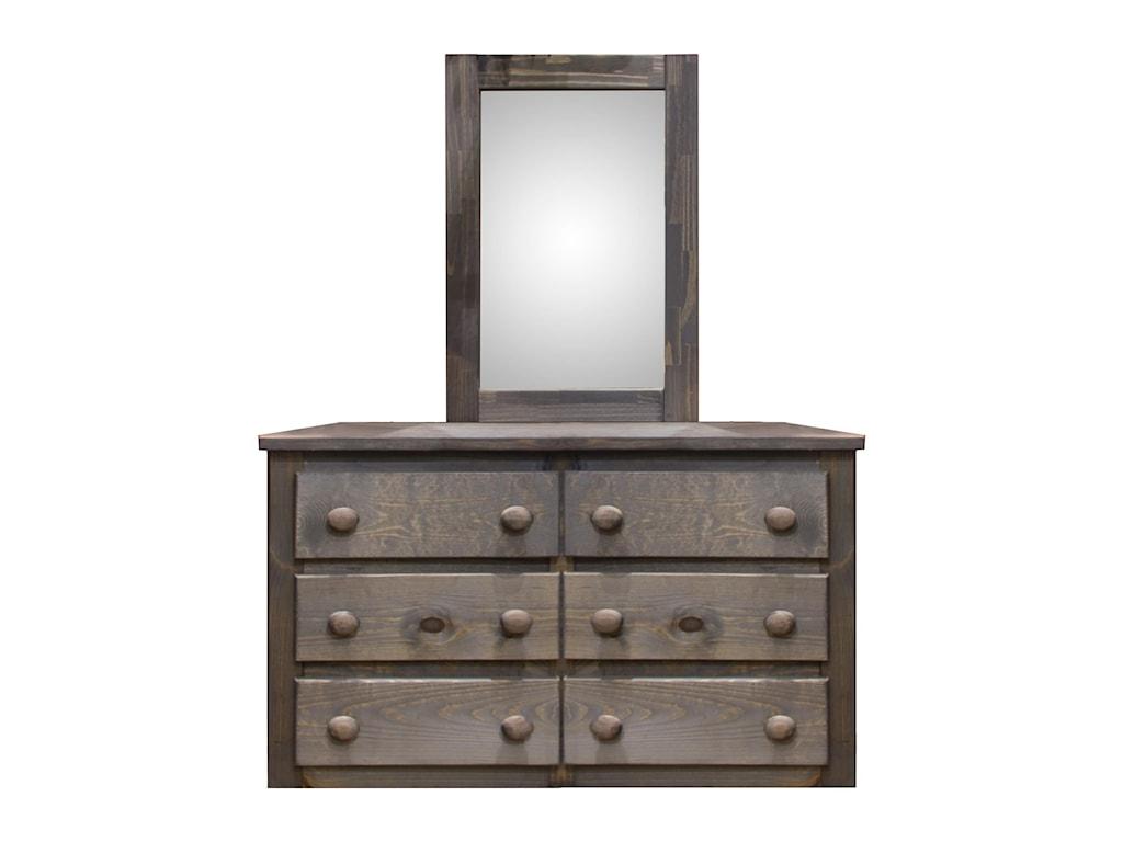 Pine Crafter WalnutSix Drawer Dresser & Mirror Set