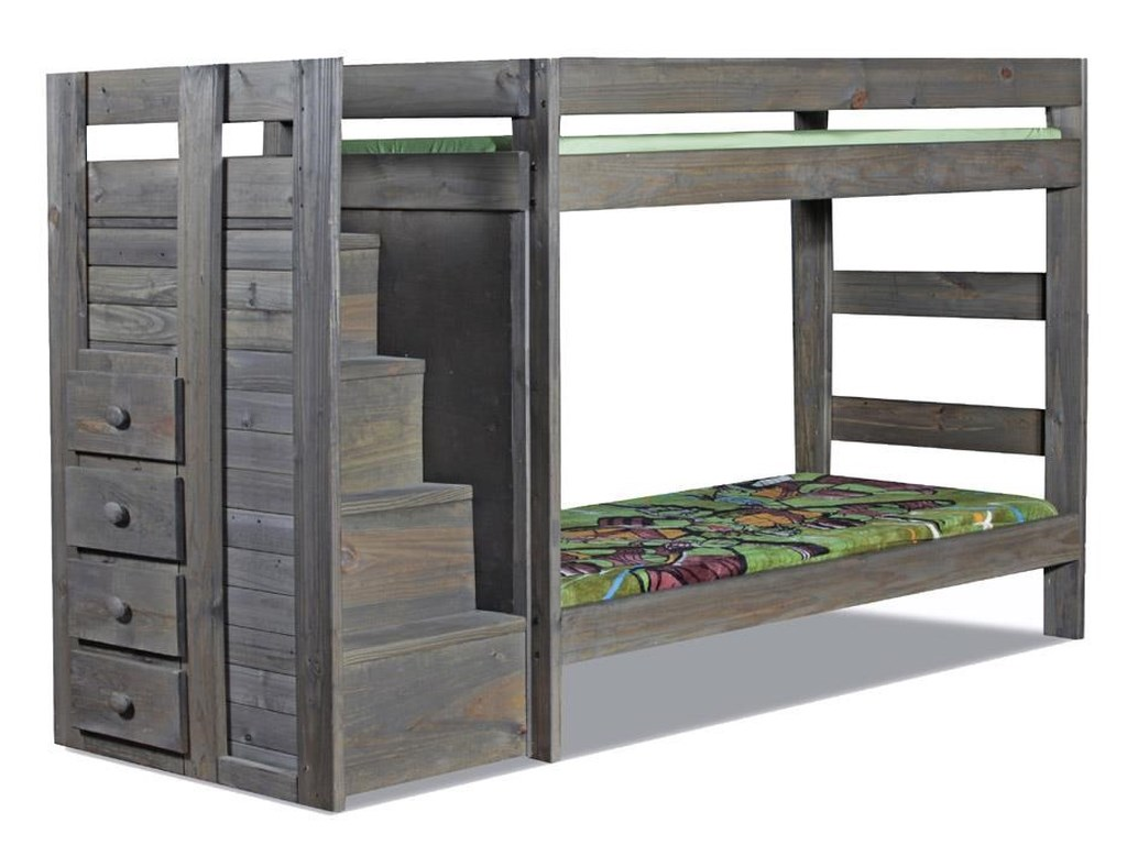 Pine Crafter WalnutStaircase Twin/Twin Bunk Bed