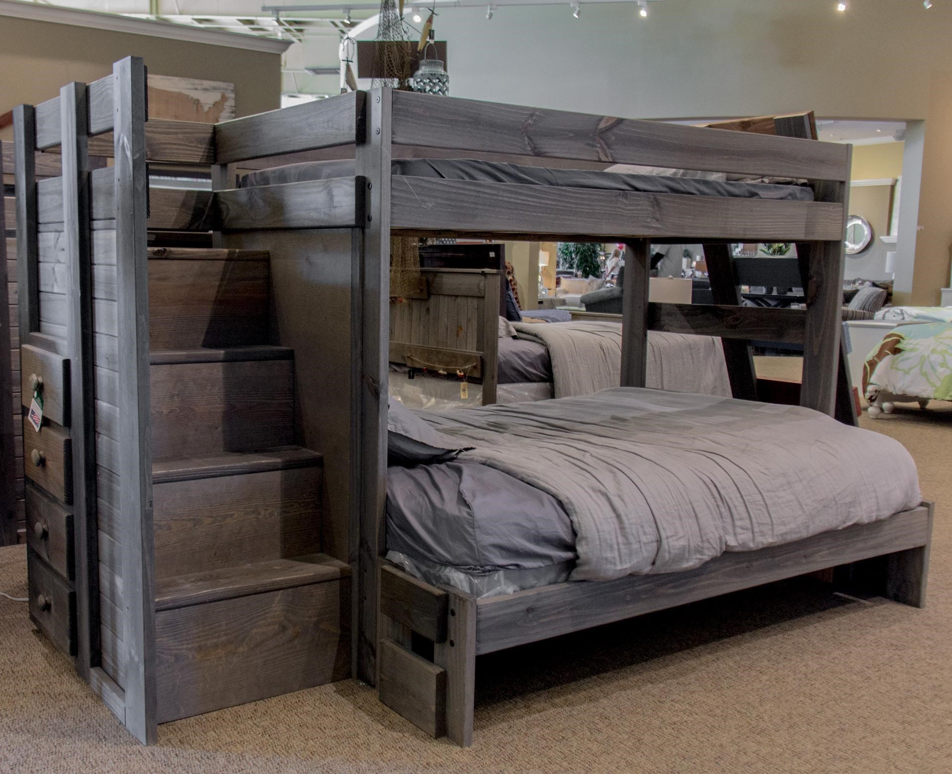 Pine Crafter WalnutWalnut Twin Over Full Staircase Bed