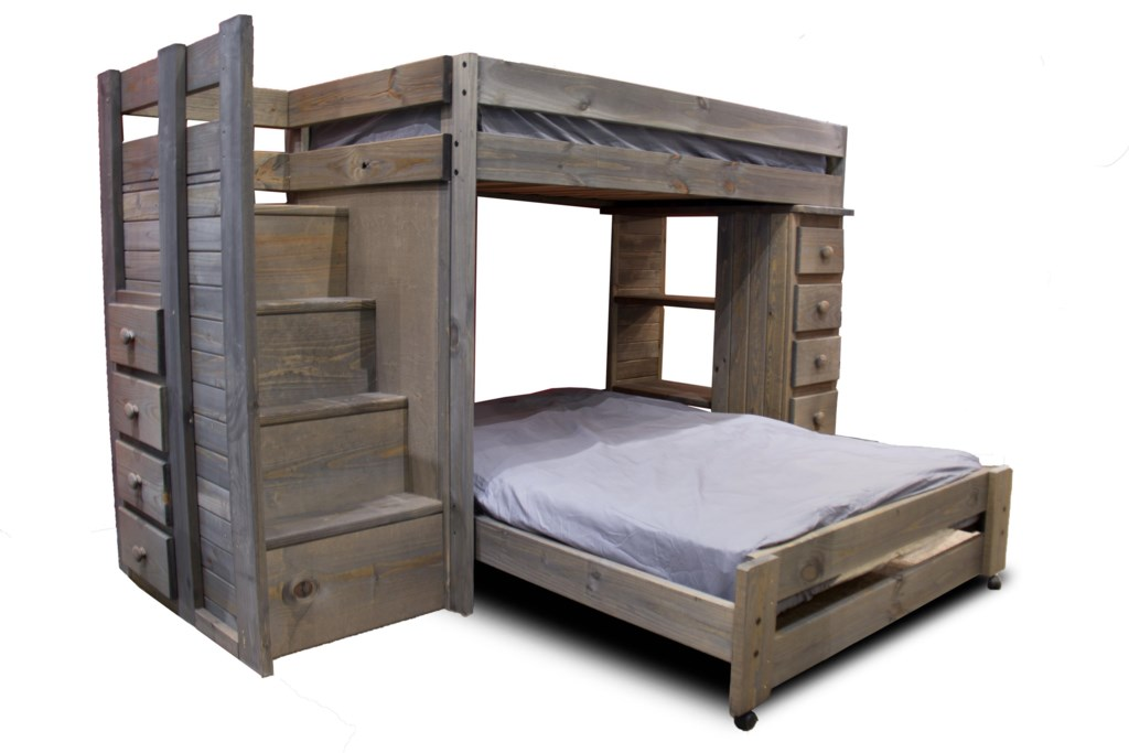 Pine Crafter Walnutstaircase Twin Full Loft Bed