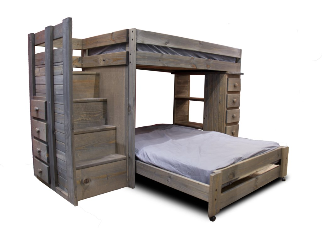 Pine Crafter WalnutStaircase Twin/Full Loft Bed