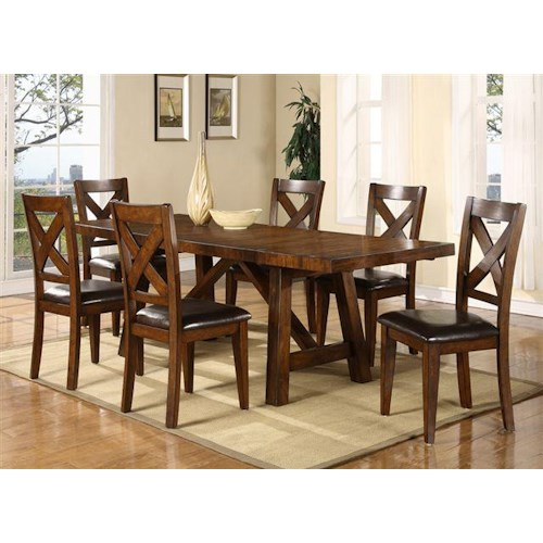 Porter International Designs Montreal Wooden Trestle Base Dining ...