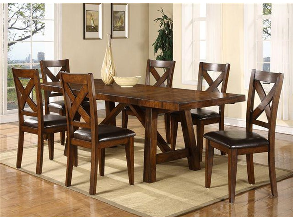 Montreal Seven Piece Trestle Table And Cross Back Chair Dining Set By Porter International Designs
