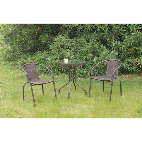 Poundex 101 Outdoor Bistro Set with Glass Top Table