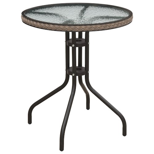 Poundex 101 Round Outdoor Bistro Table with Glass Top