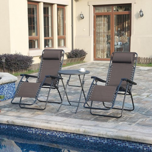 Poundex 123 Outdoor Lounge Set with Bistro Table