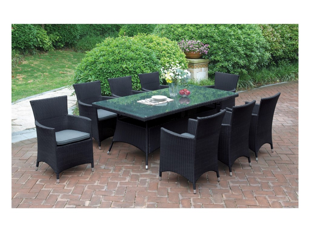 Poundex 218Dark Brown Outdoor Table