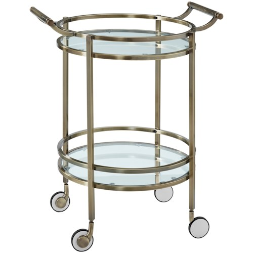 Powell Accent Furniture Antique Brass Round Svc Cart
