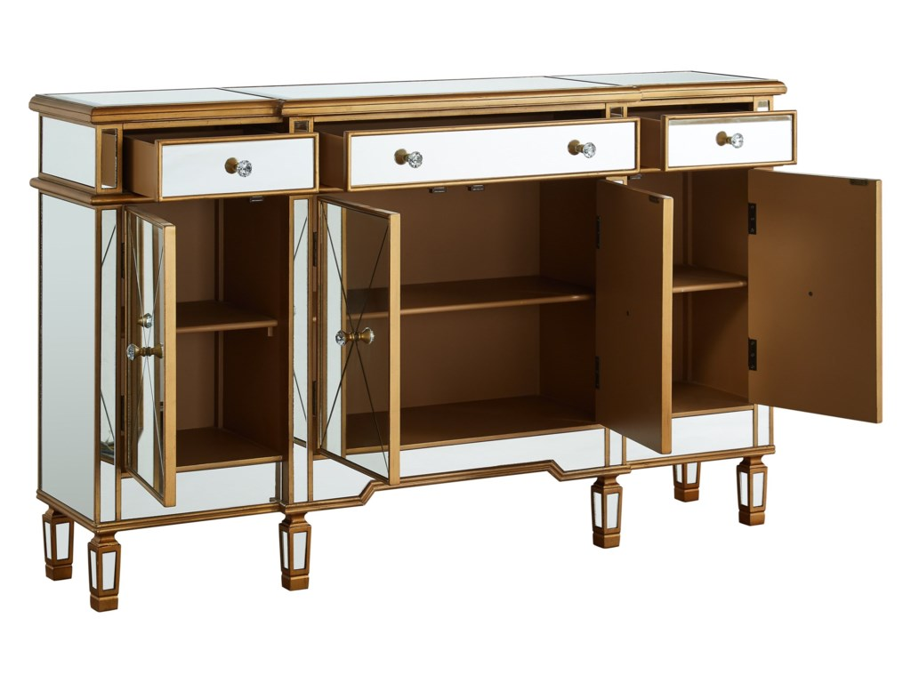 Powell Accent FurnitureGold and Mirrored Console 3-Drawers 4-Doors