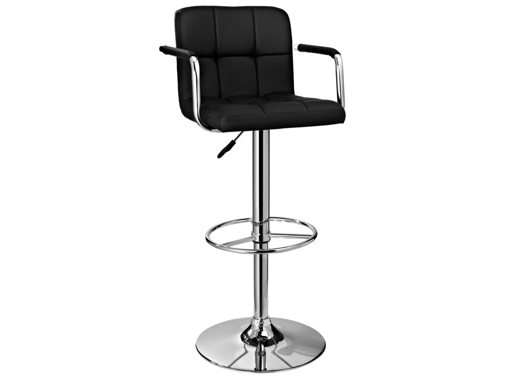 Powell Bar Stools & TablesBlack and Chrome Quilted Barstool