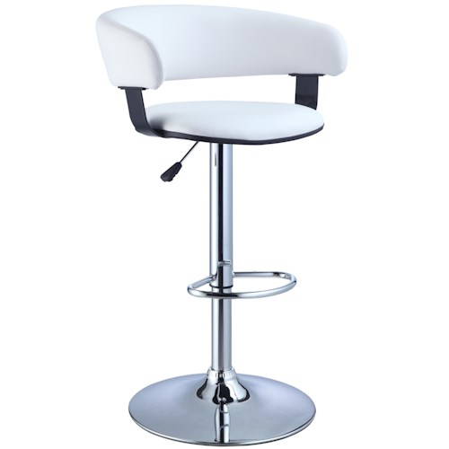 Powell Misc. Bars & Game Room White Faux Leather Barrel & Chrome Adjustable Height Bar Stool