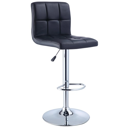 Powell Misc. Bars & Game Room Black Quilted Faux Leather Bar Stool with Adjustable Chrome Base