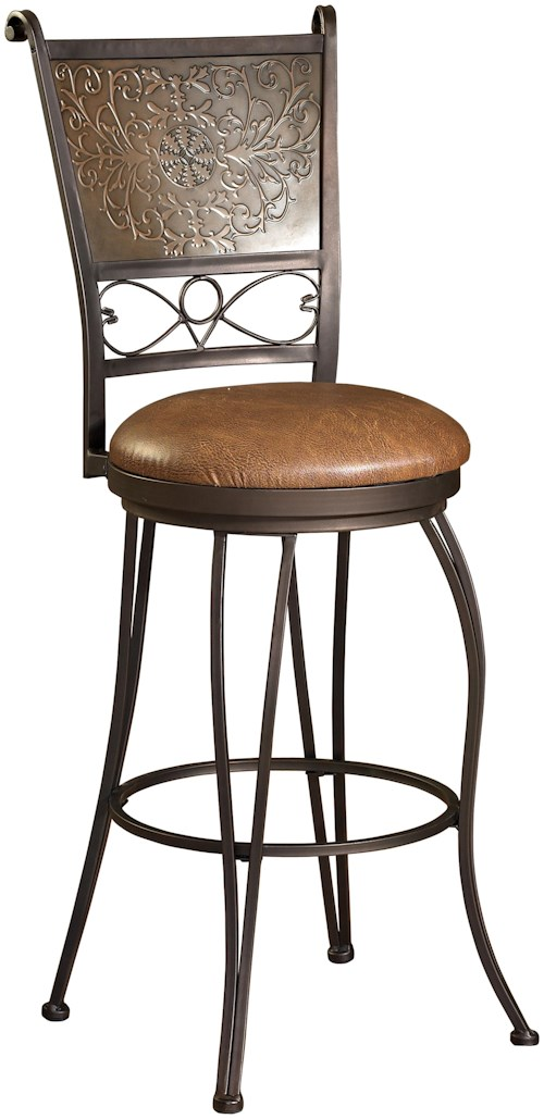 Powell Bar Stools & Tables 30 Inch Bronze with Muted Copper Stamped Back Bar Stool