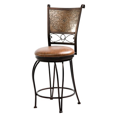 Powell Bar Stools & Tables 24 Inch Bronze with Muted Copper Stamped Back Bar Stool