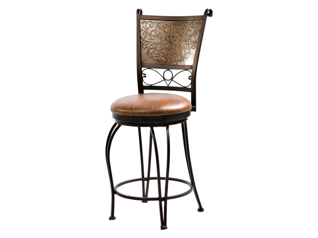 Powell bar stools tables 24 inch bronze with muted copper stamped back bar stool