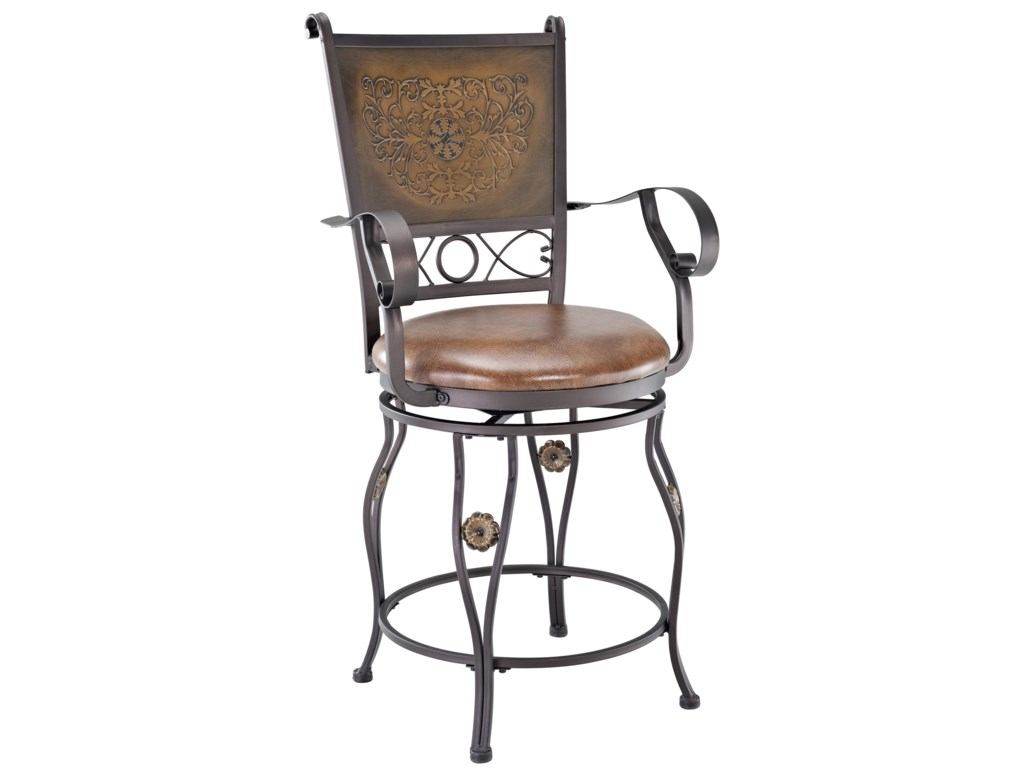 Powell Big and TallCopper Stamped Back Counter Stool