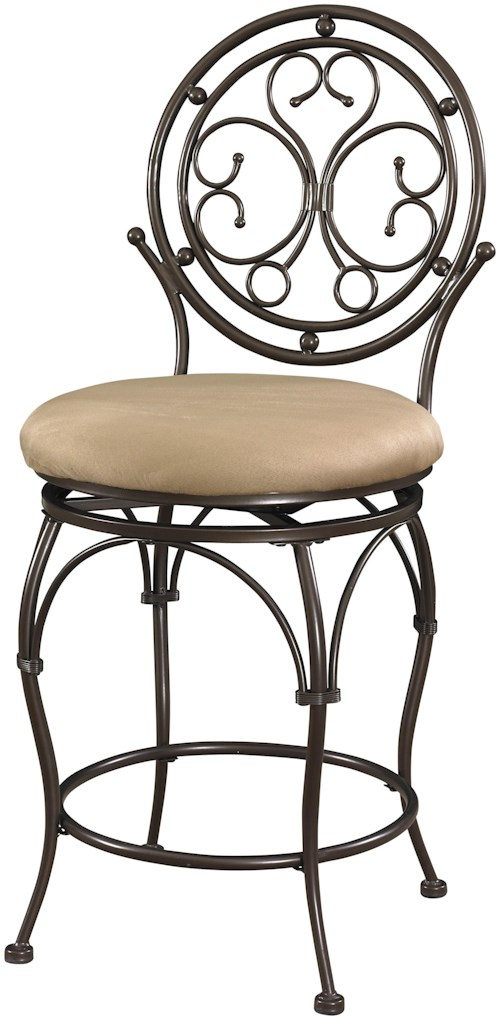 Powell Big and Tall Scroll Circle Back Counter Stool with Upholstered Seat