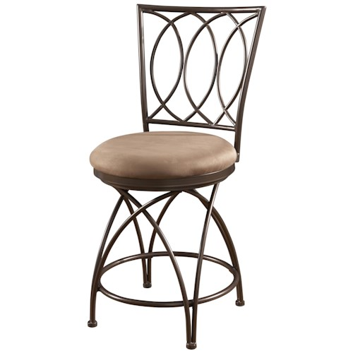 Powell Big and Tall Metal Crossed Legs Counter Stool with Upholstered Seat