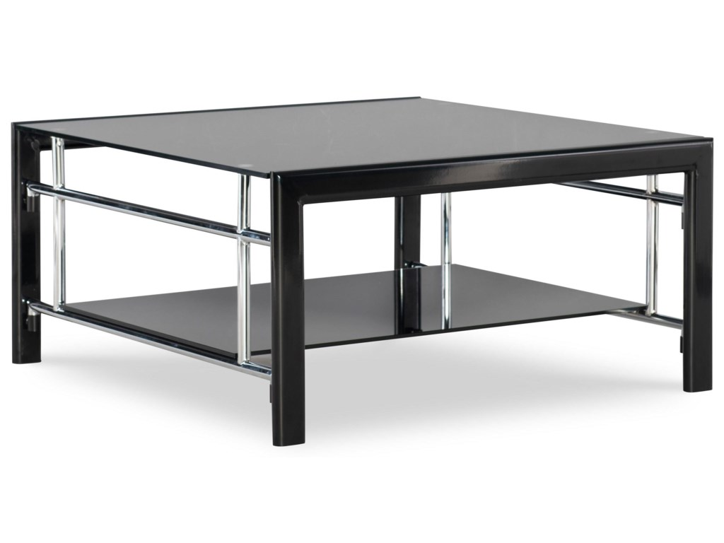 Powell Black Contemporary Square Tail Table With Bottom