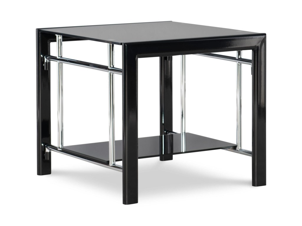 Powell Black Contemporary End Table With Bottom Gl