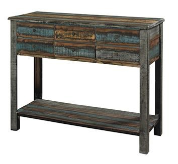 Powell Calypso Distressed Console Table   Pedigo Furniture   Sofa Table