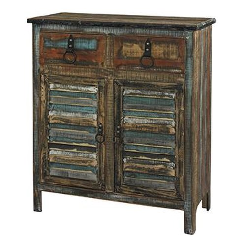 Powell Calypso Rustic 2-Drawer 2-Door Console