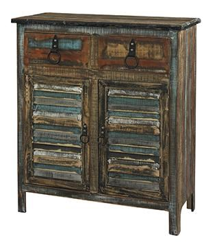 Powell Calypso Rustic 2 Drawer 2 Door Console
