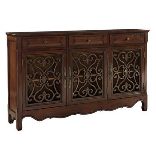 Powell Consoles  3 Door Metal Look Console with Hand Painted Scroll