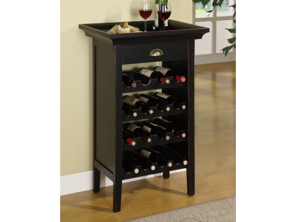 Powell Contemporary Black Stylish Wooden Wine Cabinet