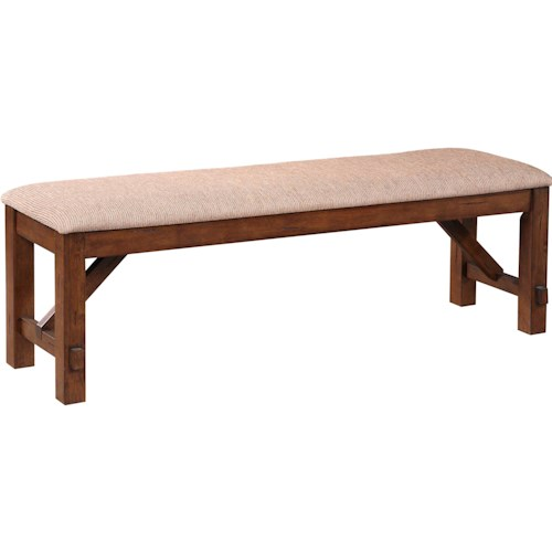 Powell Kraven Dark Hazelnut Dining Bench with Beige Upholstered Seat