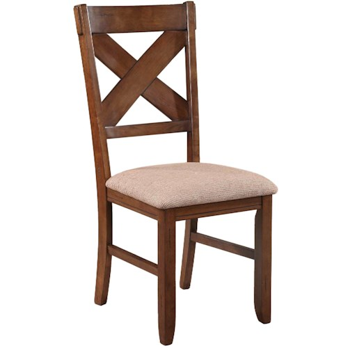 Powell Kraven Dark Hazelnut Dining Side Chair with Beige Upholstered Seat