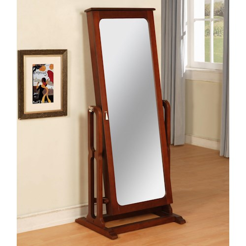 Powell Marquis Cherry Floor Mirror with Jewelry Wardrobe Compartment