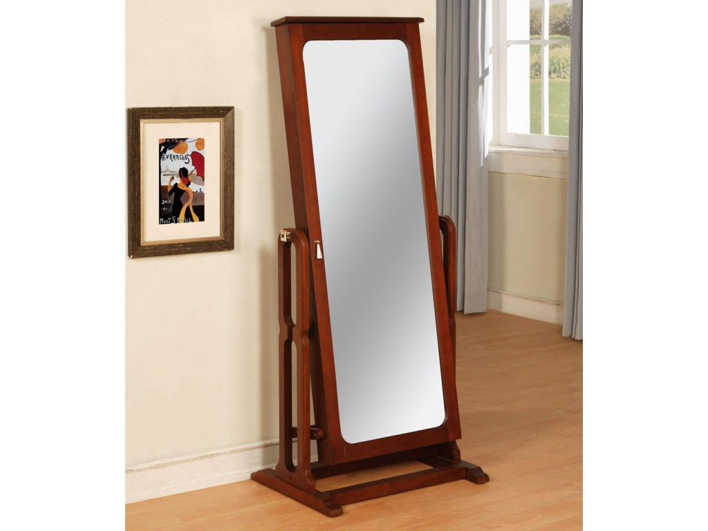 Powell Marquis Cherry Floor Mirror with Jewelry Wardrobe Compartment ...