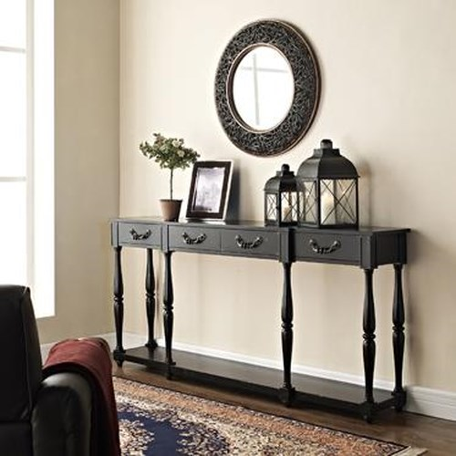 Powell Accents Black Console w/ Turned Legs