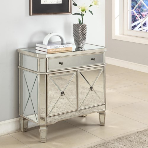 Powell Accents Mirrored 1 Drawer, 2 Door Console