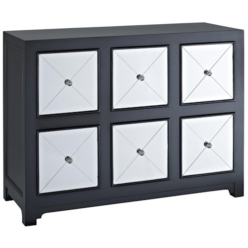 Powell Accents Mirrored 6 Drawer Black Wood Console