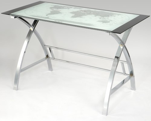 Powell Accents World Map Printing Curved X-Sided Computer Desk