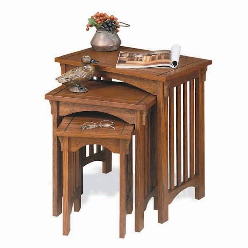 Powell Mission Oak Three Piece Nesting Table Group