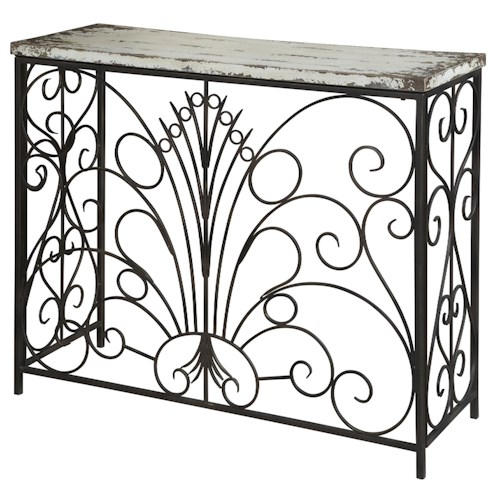 Powell Parcel Distressed White Console Table