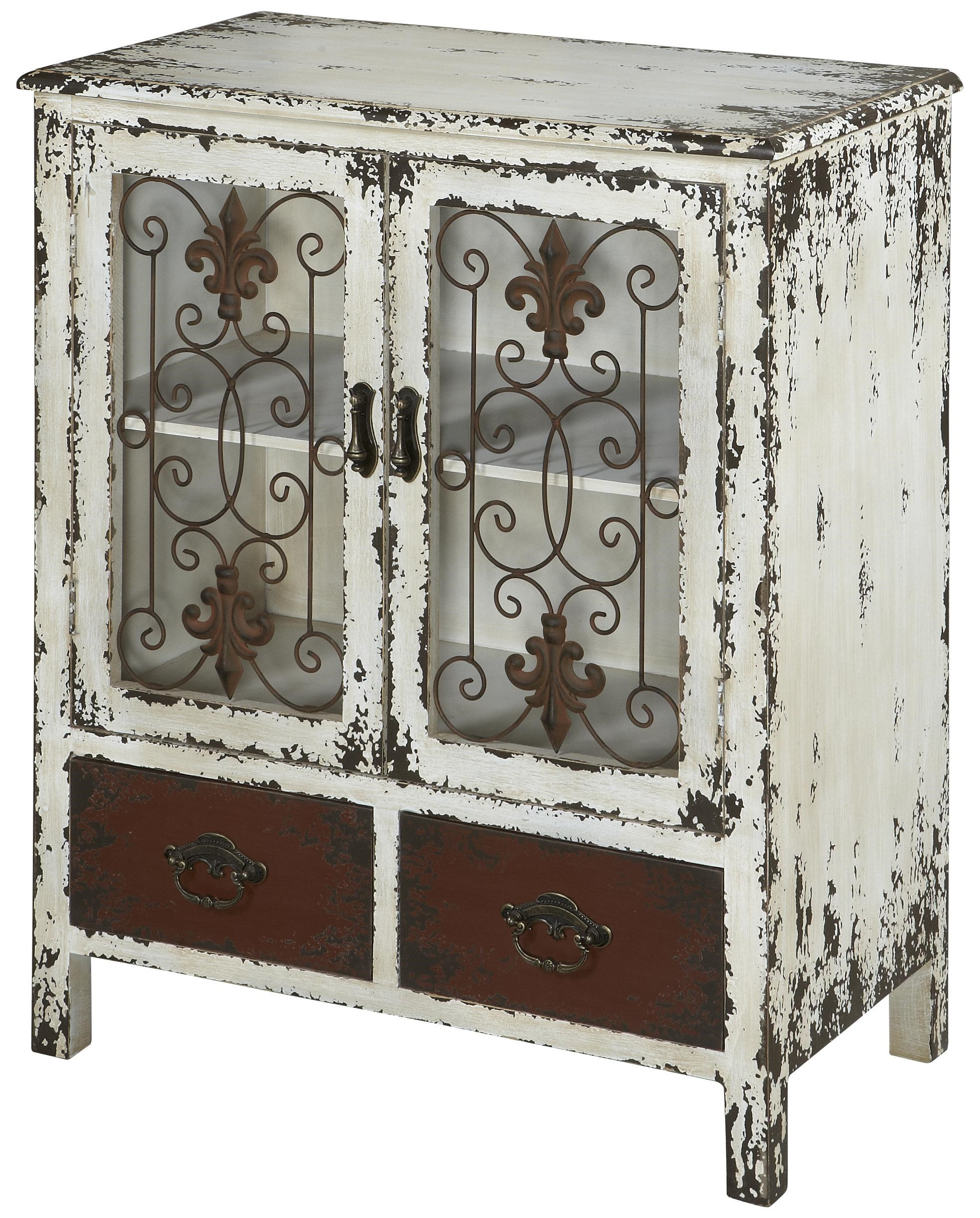 Ordinaire Powell Parcel 2 Door Distressed White Console Cabinet With 2 Drawers