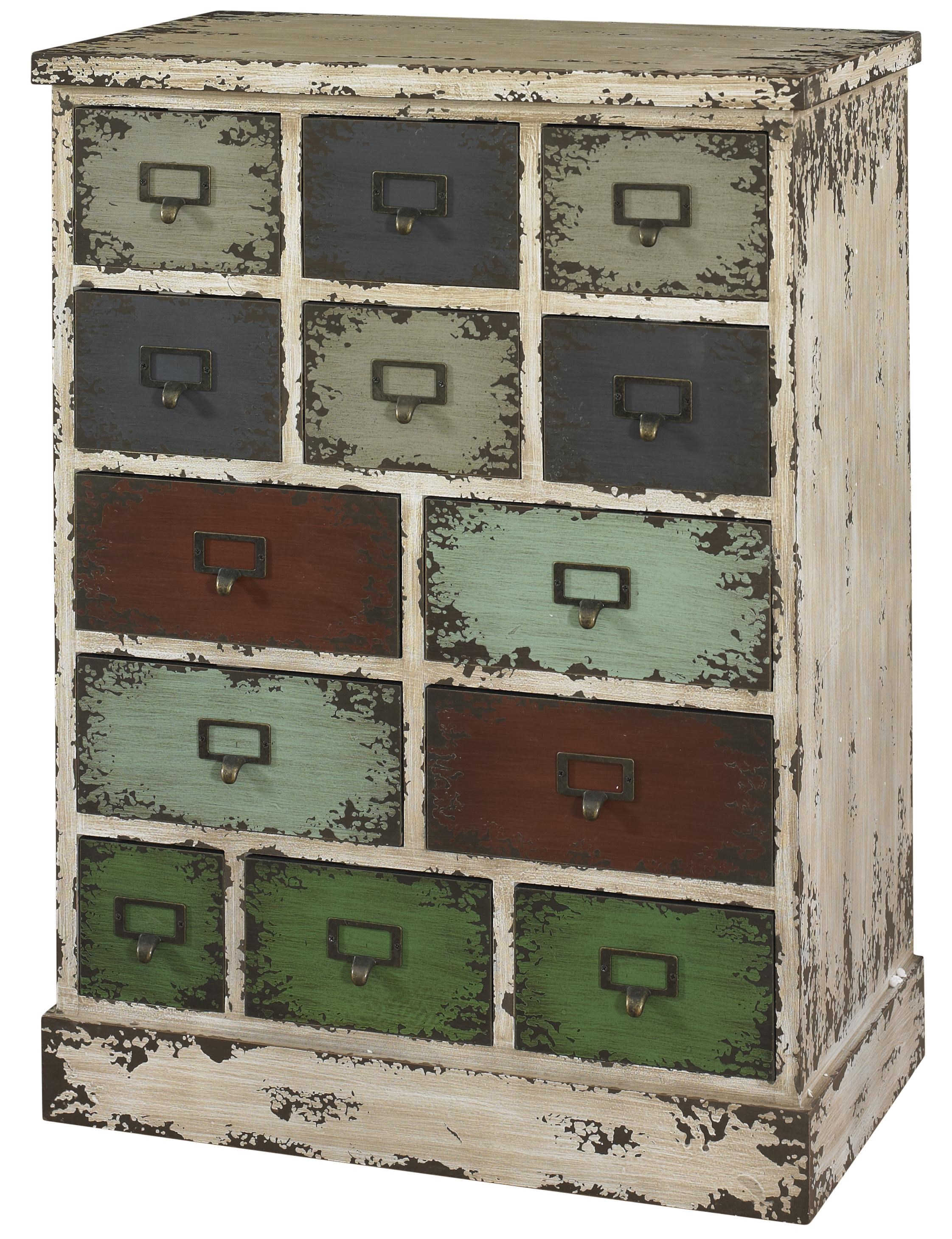Powell Parcel Distressed White Cabinet With 13 Multicolored Drawers
