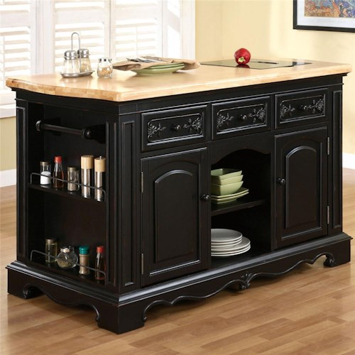 pennfield kitchen island powell pennfield kitchen island with three drawers colder s furniture and appliance kitchen 9826