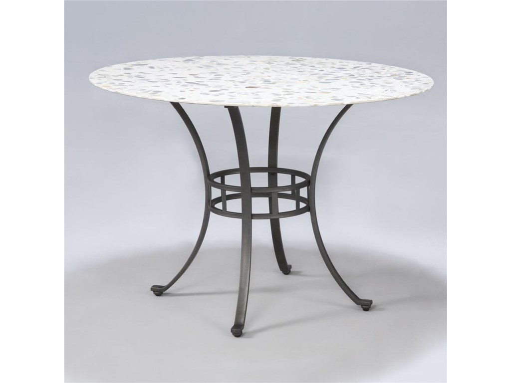 Powell powell cafe starmount inlaid stone top dining table