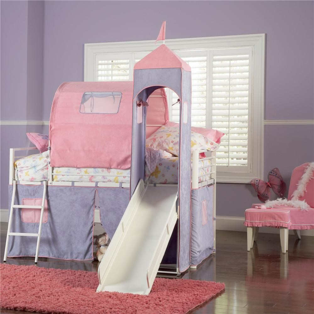 Picture of: Powell Princess Princess Castle Twin Bunk Bed With Tent And Slide Wayside Furniture Loft Beds