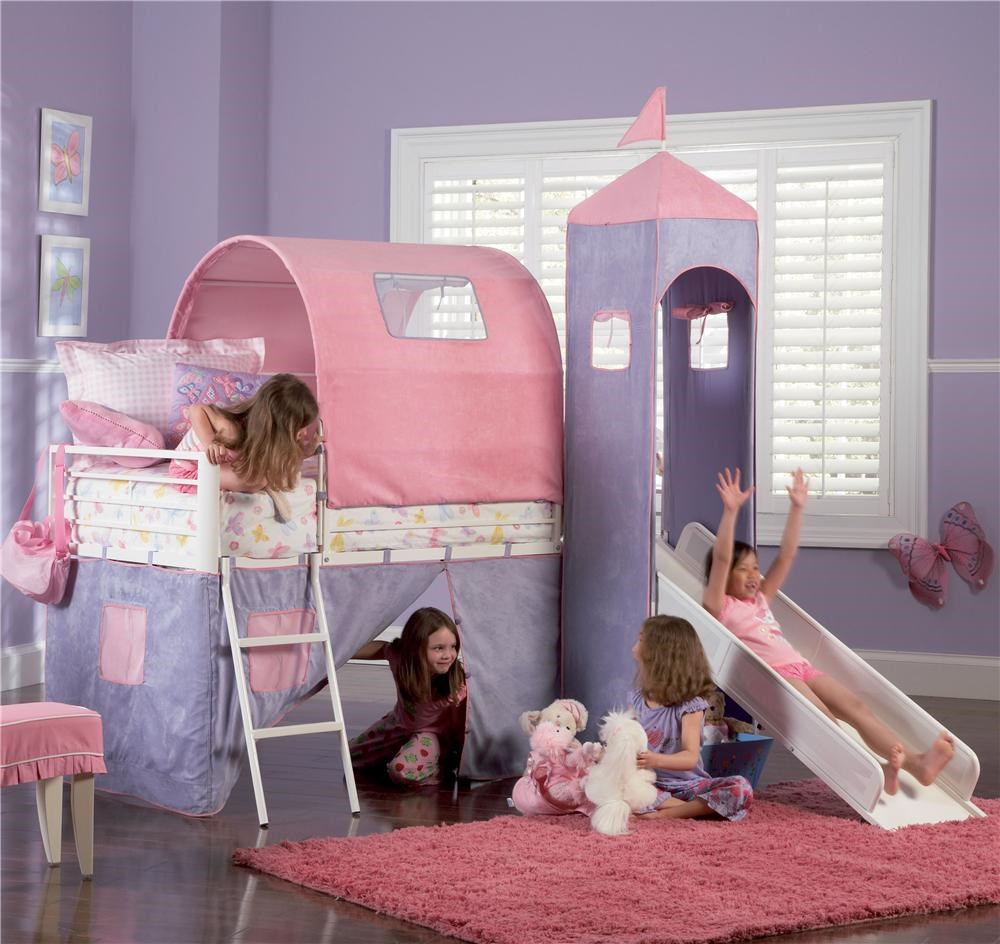Powell Princess Princess Castle Twin Bunk Bed With Tent And Slide Wayside Furniture Loft Beds